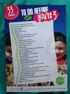 33 Things to do before you're 3